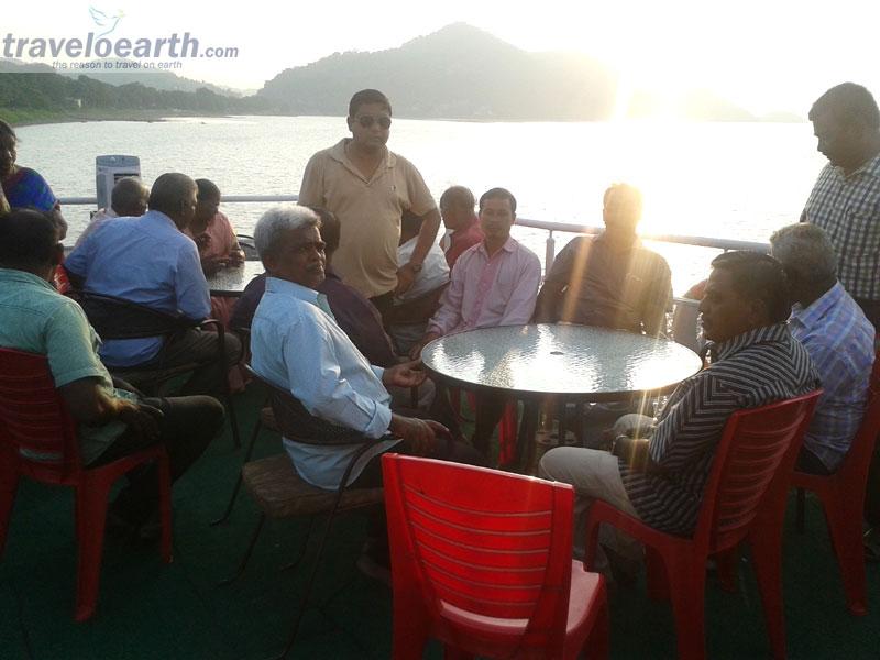 Guest Enjoying Cruising in Brahmaputra with beautiful Sunset - Alfresco Cruise,Guwahati